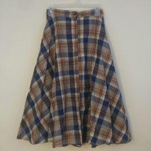Vintage Wool Multi Plaid Long Skirt Petite Waist